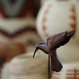 Seri ironwood hummingbird carving