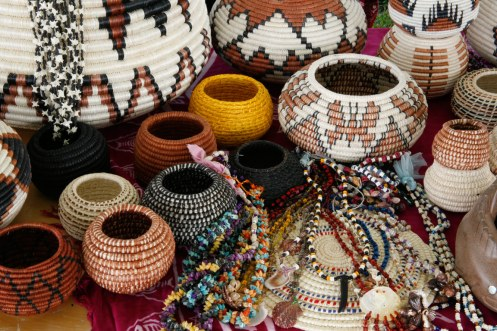 Seri Baskets and shell necklaces
